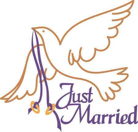 flown: Two gold rings flown in on the wings of a lovely white dove.  Now thats a perfect wedding design!  Create amazing invitations or napkin prints. Illustration