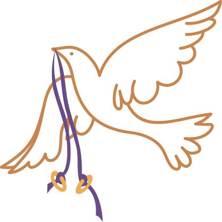 Two gold rings flown in on the wings of a lovely white dove.  Now that's a perfect wedding design!  Create amazing invitations or napkin prints. Ilustrace