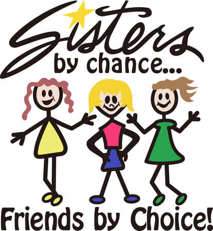 tee shirt: Our cheerful group of sweet sisters is a super cute way to create amazing gifts.  Try it as tee shirt art or print art!
