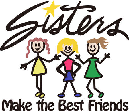 sibling: Our cheerful group of sweet sisters is a super cute way to create amazing gifts.  Try it as tee shirt art or print art!