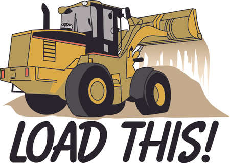 backhoe loader: Does your little tyke dream of driving a excavator around If they didnt before, they will now!   A great design on t-shirts, sweatshirts and more. Illustration