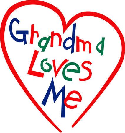 Grandma's liefde is zo'n bijzondere zaak. Waarom niet deze liefde op vertoning op een super schattige peuter T-stuk! Stock Illustratie