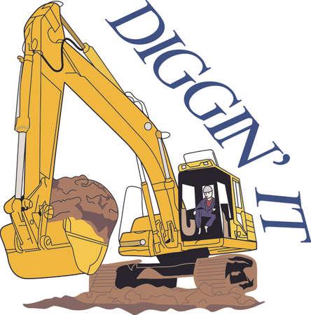 construction equipment: Little boys -and big boys - love big construction vehicles!  Great for a construction workers logo or jacket or a decoration on apparel for the little guys.