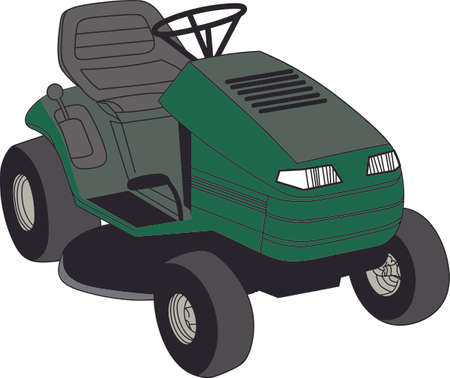 lawn care: Landscaping professionals and the weekend yard warrior alike need a big riding mower to make the work easier.  What a great design for a lawn care company! Illustration