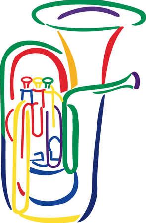 Rock aan de wilde kant! Stitch dit koele tuba ontwerp op overhemden, zakken, en meer voor uw rocksterren. Stock Illustratie