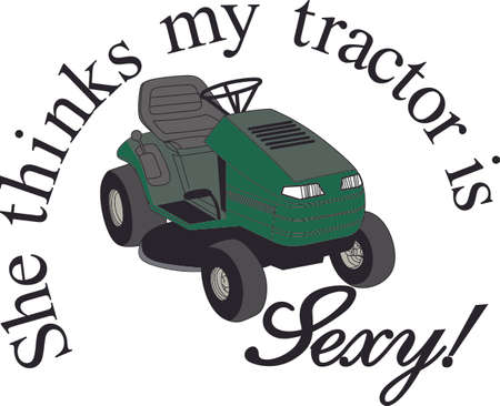 easier: Landscaping professionals and the weekend yard warrior alike need a big riding mower to make the work easier.  What a great design for a lawn care company or just for a fun creation!