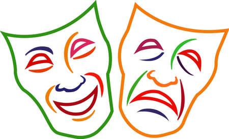 이 코미디 비극 마스크를 프로젝트에 추가하고 연극 애호가가 빠질 극적인 선물을 디자인하십시오!