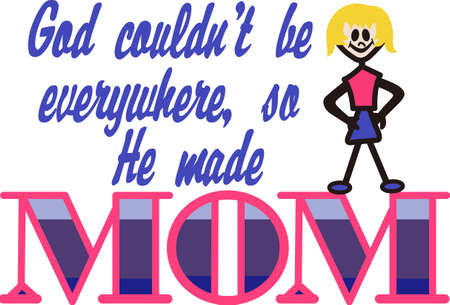 mamma: Create a series of special mom shirts with our stick figure mom and fun text. Illustration