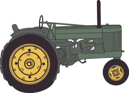 Does your little tyke dream of driving a tractor around If they didnt before, they will now!   A great design on t-shirts, sweatshirts and more. Illustration