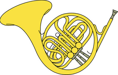 brass band: Listen to foot tapping music.  This pitch perfect French Horn design will be great on projects for your music lover! Illustration