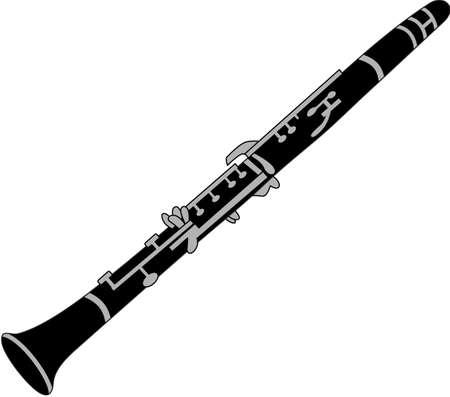 Rock aan de wilde kant! Stitch dit koele klarinet ontwerp op overhemden, zakken, en meer voor uw rocksterren. Stock Illustratie