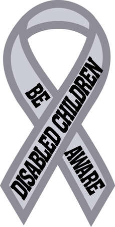 riband: Spread awareness of the fight to raise funds for disabled children all year round with this design on shirts, t-shirts, bags and more!