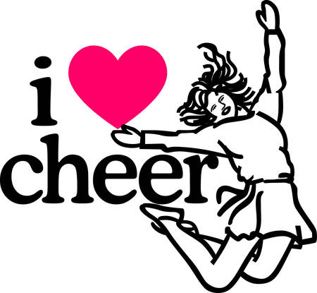 pep: Got spirit Get fired up and ready to win with this charming cheerleader design on t-shirts, skirts and team apparel.