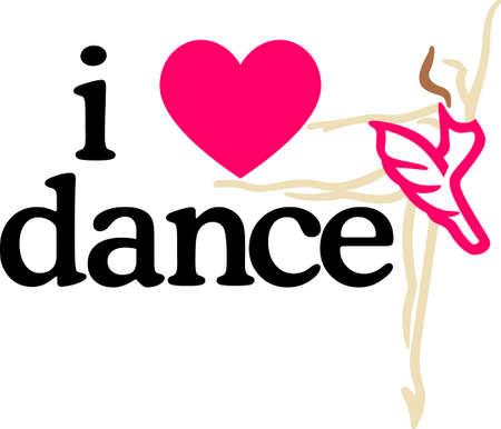 ragazza innamorata: Risveglia il ballerino all'interno. Questo disegno è bello fare regali unici per i propri cari! Sarà perfetto su t-shirt, felpe, borse e molto altro ancora! Vettoriali
