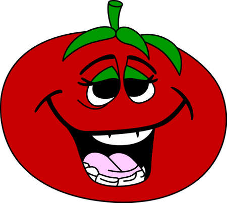 Looking for a way to brighten up for the summer  Wake your room up instantly with this eye-catching tomato face design on your kitchen projects! Иллюстрация