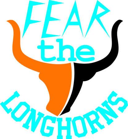 Een geweldig ontwerp voor de Longhorns-fans die er zijn! Krijg je favoriete teamlogo op t-shirts, retrooverhemden, polo's en meer! Stockfoto - 51227263