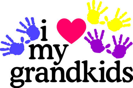 grandparent: Grandkids complete lifes circle of love.  Let the grandparents display their pride on quilts, bags, t-shirts, jackets or wall hangings. Illustration