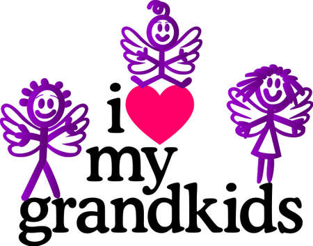 grandkids: Grandkids complete lifes circle of love.  Let the grandparents display their pride on quilts, bags, t-shirts, jackets or wall hangings. Illustration