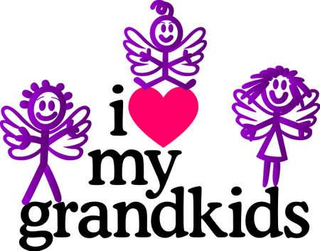 Grandkids le cercle de la vie complète de l'amour. Que les grands-parents affichent leur fierté sur les courtepointes, sacs, t-shirts, des vestes ou des tentures murales. Banque d'images - 51229524