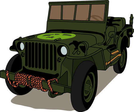 The classic military jeep will satisfy vehicle-lovers of any age!  A great design for T-shirts and sweatshirts.