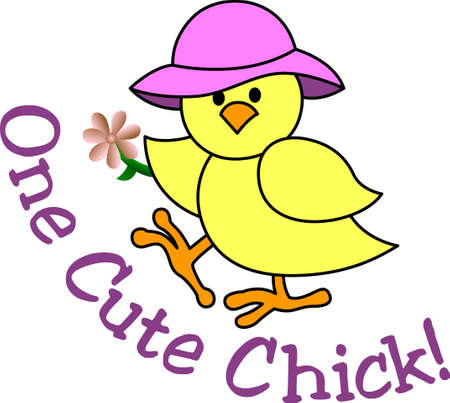 dcor: This is one cute chick indeed!  She is an amazing decoration for Easter gear including baskets and print dcor. Illustration