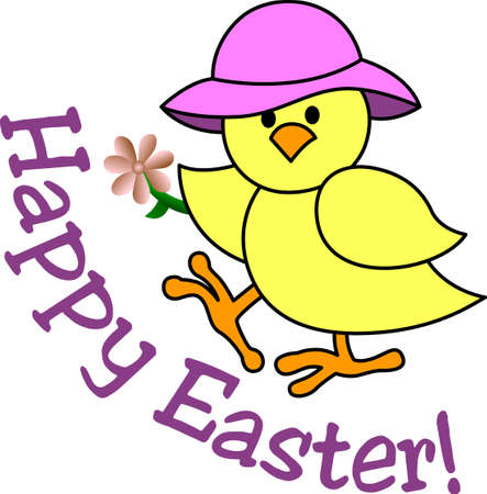 indeed: This is one cute chick indeed!  She is an amazing decoration for Easter gear including baskets and print dcor. Illustration