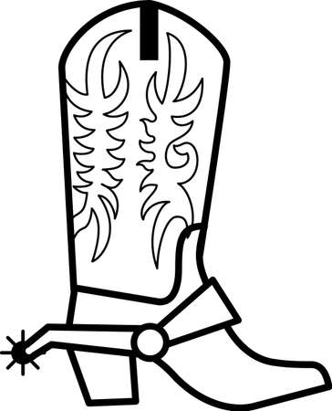 Krijg je cowboy op met deze laarzen en grote 'ol sporen! Clean enkele kleur lijnen maken dit een geweldige keus voor vinyl bezuinigingen. Stock Illustratie