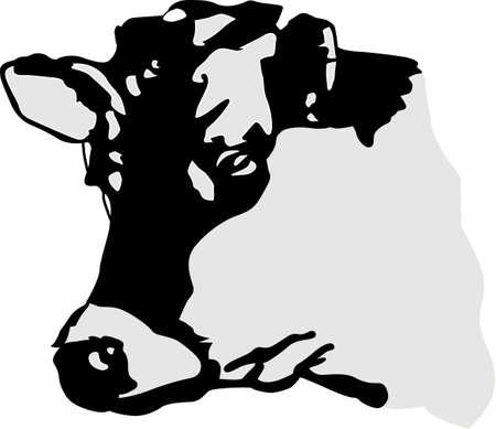 Een boerderij is gewoon niet compleet zonder koeien - vooral Holsteins! Perfect voor vinyl cut werk met zijn enkele kleur silhouet design. Stock Illustratie