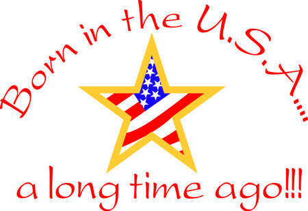 Our patriotic graphic has a great message!  Super fun for birthday gift apparel. Illustration