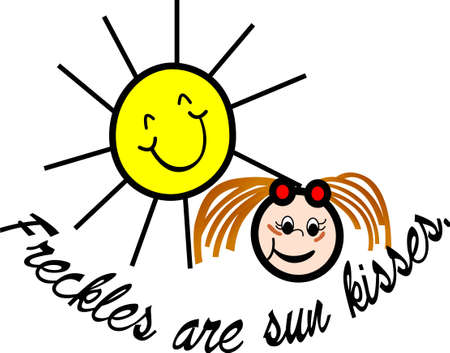 Little freckle faced girls are especially precious - faces covered with sun kisses!  Lovely decoration for shirts or a swimsuit cover!