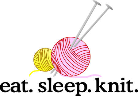 knitted fabrics: A knitting needle is a tool in hand-knitting to produce knitted fabrics. Illustration