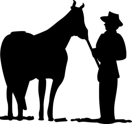 A man and his horse create a lovely silhouette.  This design is lovely tee shirt art.