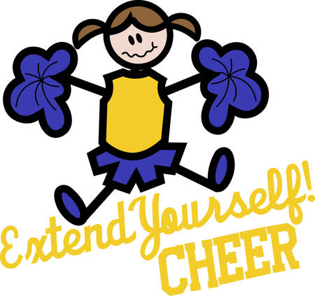cheerleader is good entertainment for any sports. Perfect to add to a bag or shirt.