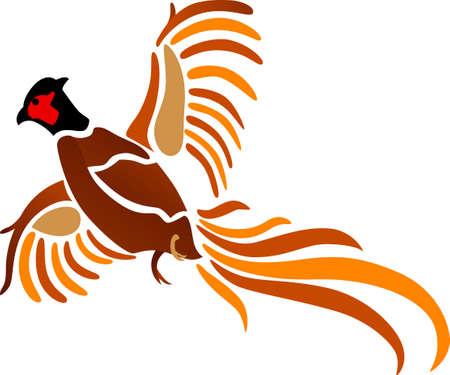 Deze mooie en artistieke fazant in de vlucht is een perfecte keuze voor de buitenmens. We houden er op het pistool gevallen en kleding jacht. Stock Illustratie