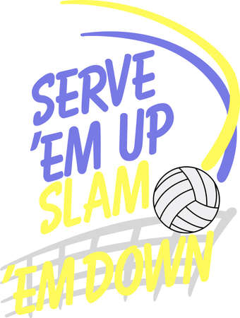 slam: Looking for the perfect Birthday or Christmas gift Embroider this design on clothes, towels, gym bags, quilts, t-shirts, jackets or wall hangings for your volley ball player!