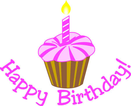 A simple cupcake carries big wishes for a happy birthday.  Create something amazing for a special birthday girl!