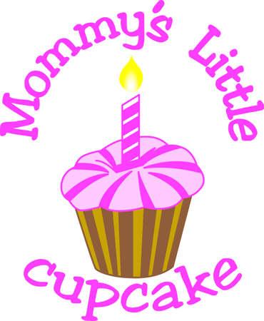 簡単なカップケーキは、幸せな誕生日の大きな願いを運ぶ。 特別な誕生日の女の子の何か素晴らしいを作成!  イラスト・ベクター素材