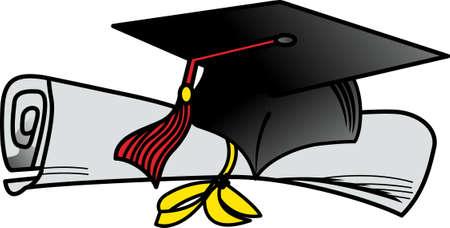 キャップの卒業証書、卒業のお祝いのための甘い御馳走になります。  イラスト・ベクター素材