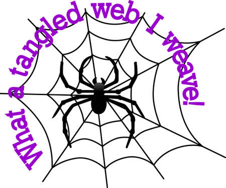 Our big, black spider weaves a scary web for Halloween creations.  Just perfect for invitation print art or shirt screen printing.
