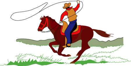 This cowboy on his horse displays his roping skills!  Colorful and detailed design make this a lovely screen printing project. Illustration