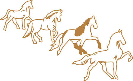 Gaited ponies create a lovely outline.  This design is lovely for vinyl cut creations.