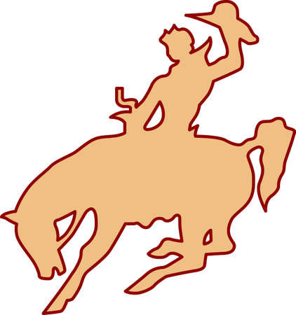 bronco: Our cowboy rides this bronco to rodeo fame!  Two color design make this just perfect for vinyl work! Illustration