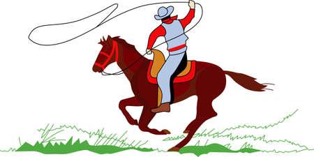 彼の馬にこのカウボーイ彼のローピングのスキルが表示されます! カラフルで詳細なデザインはこの素敵なスクリーン印刷プロジェクトを確認します  イラスト・ベクター素材