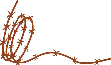 Barbed wire is a cowboy staple!  Add this bit of barbed wire to your western creations as a subtle decoration. Illustration
