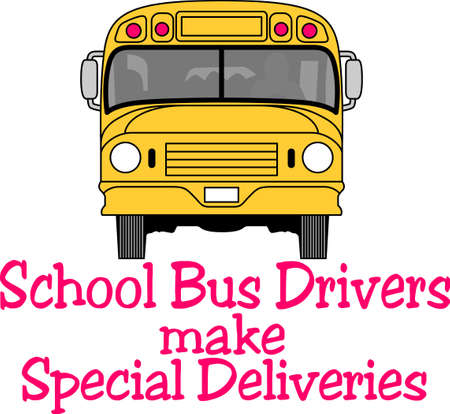 Usted confía su seguridad niño a su conductor del autobús cada día. Este diseño es perfecto para agradecer a ellos! Se les va a encantar! Perfecto para un conductor de autobús de la escuela o la guardería para los niños. Ilustración de vector