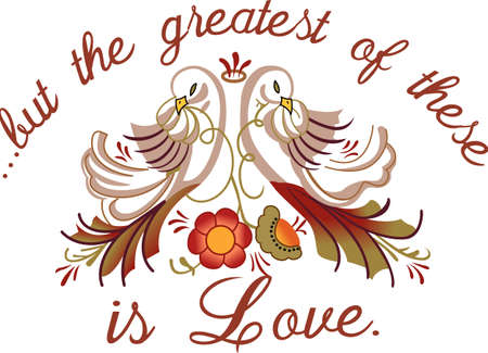 heartwarming: This heartwarming sayings design will make a great keepsake for the newlyweds on framed embroidery, afghans, bed covers and personalized gifts. Illustration