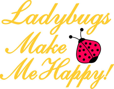 Ladybug lovers will enjoy this versatile and fun design that offers endless possibilities on any project. Ilustração