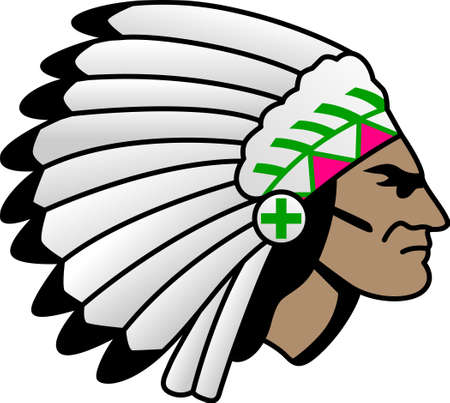 indian chief mascot: Storm the field with custom jerseys, warm-ups, uniforms, tees and more for your team with this indian tribal head design.