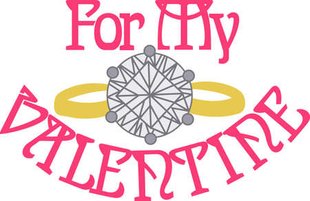 solitaire: No jewel makes a statement quite like a diamond solitaire.  This ring says Im engaged and also decorates the perfect decoration for your shower invitations. Illustration