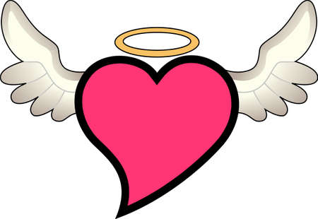 health care provider: An angel with a big heart - another name for a nurse.  Perfect art for a compassionate health care provider. Illustration